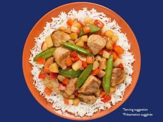 Bens Original Sweet and Sour Peach-Pork Stir Fry_Jasmine Rice_Blue