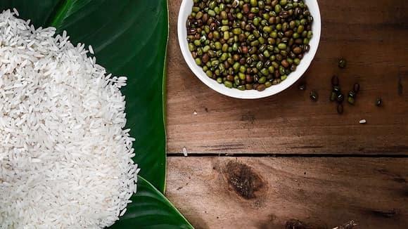 Ben's Original Website Rice in Leaf and Bowl